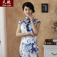 Days Yan BLUE CHEONGSAM new old Shanghai fashion classic printing silk cheongsam improved film long dress