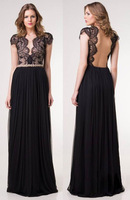Free Shipping 2014 Euro American Style Sleeveless Lace Evening Party Dress V-Neck Dresses