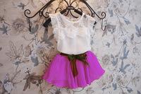 Korean Girls Summer Chiffon Skirt Suit 2 pieces sets t shirt +shirt
