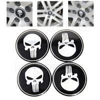 4pcs 55MM Punisher Logo  Emblem Car Steering Wheel Center Hub Cap Badge Decal Symbol Wheels Sticker For universal auto #4375*4