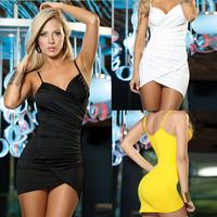 D72*Women 3 Colors Sexy Tight Tank Tops Straps Bra Dress Slim Mini Wrinkled Bikini Beach Dress Party Clubwear One-piece Sundress