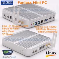 3years Warranry Barebone Fanless Mini PC Thin Client Small Computer Haswell With Intel Core i5 4200U 4K HD HTPC TV Box OpenELEC