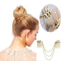 D19  Womens Personality Golden Tone Leaf Hair Cuff Chain Comb Headband Hair Band Hot