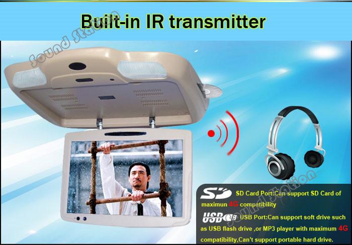 19 '' Inch Caravan Coach Bus Flip Down DVD USB SD Monitor RCA AV Monitor Car TFT LCD Display Auto Ceiling Roof Mount Screen(China (Mainland))