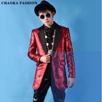 CHAOKA Chaoliang bronzing fabric suit right Zhi-long hair long paragraph suit Bar nightclub singer clothing