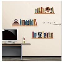 Free shipping Bookshelf wall stickers DIY Decoration removable Parlor Glass window Study Office room nursery decor NCA743