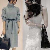 2014 Hot Sale Autumn Winter Ladies Knitted Long Pullover + Lace Dress Set Fashion Women Knit Sweater Turtleneck Side Slit