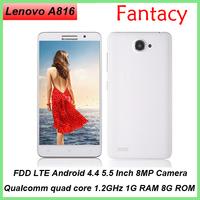 NEW Lenovo A816 5.5'' MTK6582 Quad Core CellPhone Android 4.4 1GB RAM 8G ROM Dual Camera 8.0MP 720p FHD GPS 3G WCDMA 4G FDD LTE