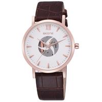 New 2015 Hot Sale Promotional SKONE Men/Women Skeleton Hand Wind Mechanical Watch Men Fashion Leather Watches