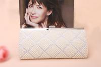 Women's Hot Sale New Elegant Pearl Rhinestone Evening Bag Bridal PU Clutch Wholesale Free shipping