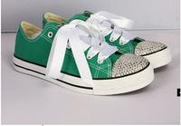2014 new fashion shoes women diamond hand-made canvas sneakers  rhinestone women sport shoes DIY sneaker shoes