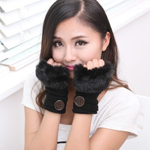 Free shipping 2014 autumn and winter wool knitted half finger buttons sub burrs short paragraph gloves(China (Mainland))