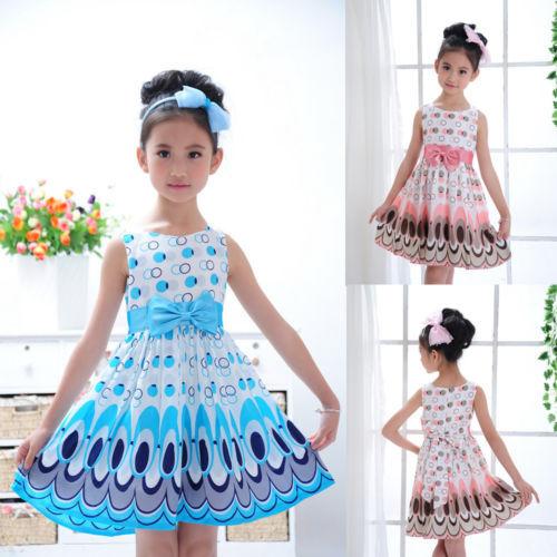 Hot  Kids Girls Princess Bow Belt dress Circle Bubble Peacock print kids Dress girl's Party dress 2-7Y free shipping(China (Mainland))
