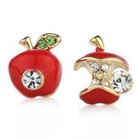 Fashion Sweety Cute Bijou apple earrings charm earring Original single  glaze red green apple retro Studs Earrings