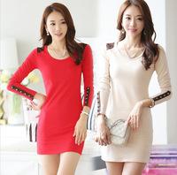 2014 autumn and winter Korean bottoming dress package hip Slim stylish long-sleeved dress OL dress