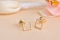 Free shipping 10pcs/lot Gold/Silver/Rosegold Hollow Square Pattern Stud Earrring Tiny Square Stud Earrings ED064