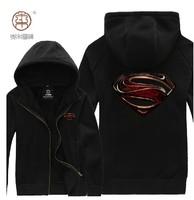 JUSTICE LEAGUE HERO SUPERMAN PRINTING FLEECE ZIP UP HOODIE MENS COAT Black High Quality Free Shipping