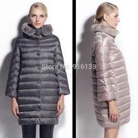 Luxury Rex Rabbit Fur Parka Women Thickening Down Coat Slim Long Winter Jacket White Duck Down Coat Plus Size XXL Women Overcoat