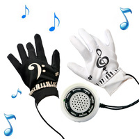 Playable Interactive Piano Hand Music Gloves Electronic Exercise Instrument Kit with Built-in Speaker Demo Melody Song Box Toy