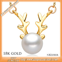 genuine guarranty 18k gold akoya pearls deer pendant necklace best christmas gift free shipping amazing promotion shipping free