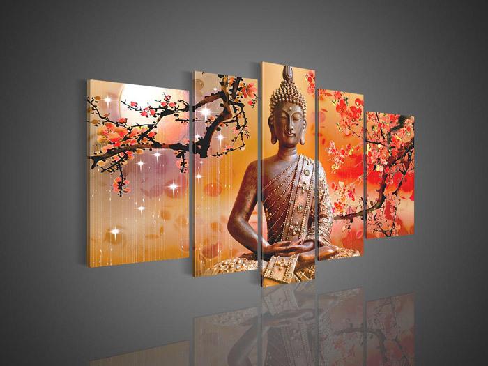arte da parede 5 painel buda religião pintura a óleo sobre tela moderna decoração pinturas modernas acrílico para a decoração home(China (Mainland))