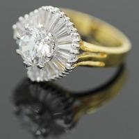 Shinee free shipping wholesale fashion 18k gold ring luxury crystal CZ two tone ring women