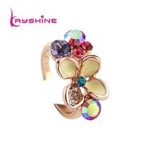 Chrismas Gift Alloy Finger Aulic Flower Shape Enamel Gold Color Rings for Women Brand Design Anel