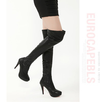 2014 New Fashion knee high heels PU leather winter long boots women high platform Shoes #CA,349-66, Free Ship