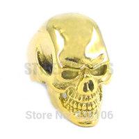 Free shipping! Gothic Gold Biker Skull Ring Stainless Steel Jewelry Large Skull Motor Biker Men Ring SWR0266