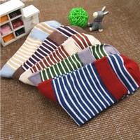 100% cotton knee-high socks horizontal stripe color block decoration 100% cotton male socks men's socks