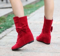 2014 Winter Warm Women's Shoes Round Toe Mid-Calf Low Heel Wedge Snow Boots With Fur All Sizes