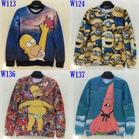 (Alice)free shipping Men / women hoody printing 3d animation funny cartoon characters hoodies novelty sports jacket 4 models