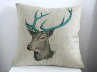 "New Arrival Decor Cotton Linen Square Throw Pillow Case Sofa Cushion Cover  pillowcase Shell Deer Colorful Antler 18"""