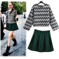 2014 autumn women's twinset woolen set basic pleated one-piece dress short skirt sweet princess dress