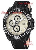 New Men's Tour de France Chronograph F16584/5 Black Leather Analog Quartz Watch