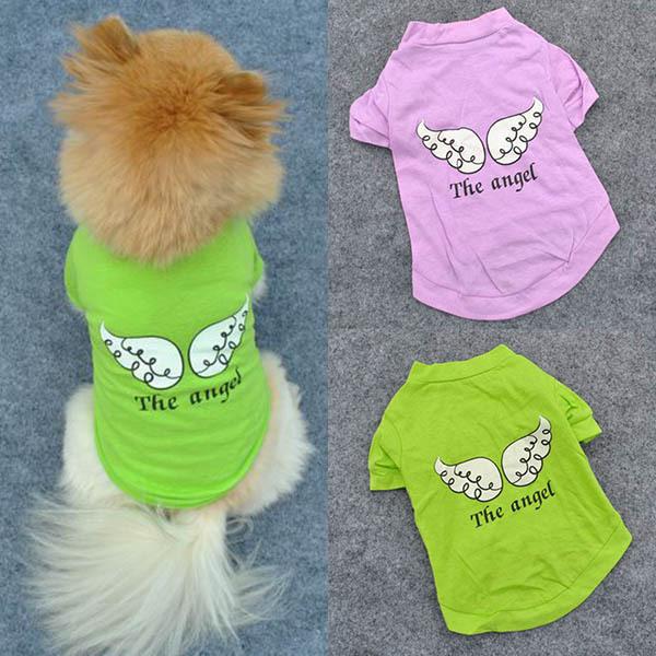 Cute Pet Puppy Dog Clothes Angel Wing Pattern T-shirt Shirt Coat Tops Clothings Free&DropShipping(China (Mainland))