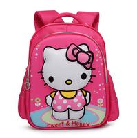 New Style High Quality Nylon Cartoon Hello Kitty 3D Children Backpack 1-3 Grade Girls School Bag 30*36*12cm