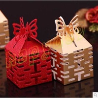 50pcs Double Xi hollow wedding day wedding candy box marriage charm shower favor candy boxes wedding party gift hold bag