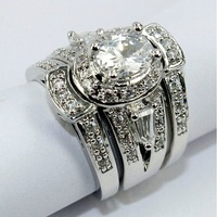 JA-5043, Wholesle Rings Bridal couple ring Brass(Copper)with Rhodium Plated,Free Shipping With A Velvet Box