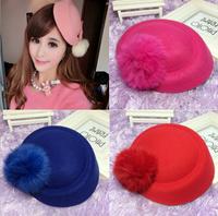 Han edition autumn winter cloth rabbit hair ball small princess hat stewardess cap, fashion headdress hairpin children