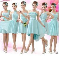 New Bra straps chiffon bridesmaid dresses flower sisters girlfriends dress short paragraph