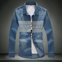 Free shipping famous brand plus size XXL XXXL 4xl 5xl 6xl men jeans shirt 8xl Autumn mens casual-shirt shirt coat mens clothing