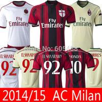 Top A+++  AC Milan 14 15 home away white jersey HONDA EL SHAARAWY TORRES MONTOLIVO AC Milan 2015 soccer jersey