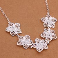 12Pcs/lot Women Trendy 925 Silver Flower Necklace Lady Silver Hollow Flower Pendant Necklace Women Silver Chain Choker Necklace