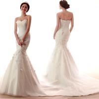Vestido De Noiva 2014 Fashionable Plus Size Feather Lace Mermaid Romantic Wedding Dress Robe De Mariage Sereia 2014 Casamento