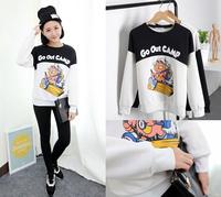 Print Black Sweatshirt Long Sleeve Thicken Loose Blouse Warm Womens Tops Free&Drop Shipping
