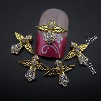 50pcs gold nail art cross 3d alloy nail design glitter rhinestones decoration nails art supplies MNS720