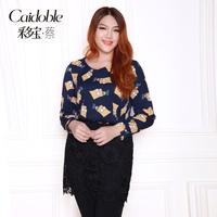 Prabhutaratna plus size clothing mm cartoon V-neck slim autumn and winter basic t-shirt top a3207