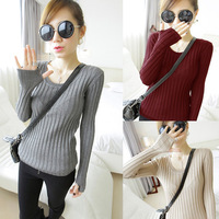 stripe slim elastic solid color pullover sweater o-neck long-sleeve basic top female