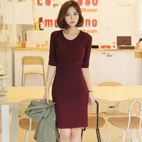 autumn women's medium-long elastic basic one-piece dress